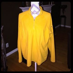L.L.Bean yellow 3/4 zip fleece pull over